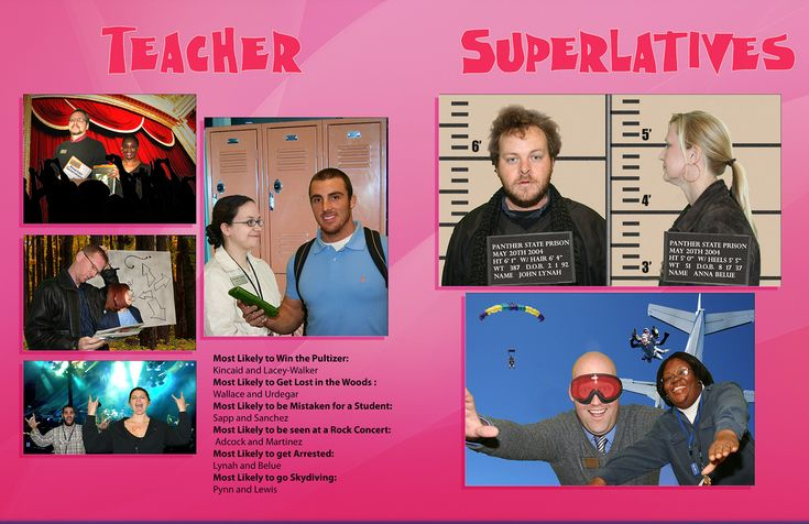 Teacher Superlatives page in the yearbook. Teachers were taken on a green screen and then photoshopped for the category they won.