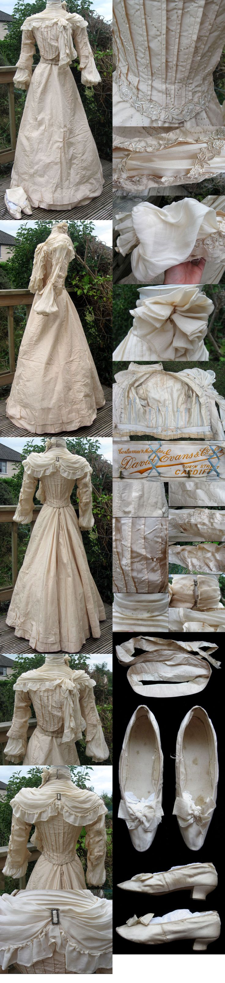 Late Victorian Silk Chiffon Wedding Dress Outfit 1900 with Shoes. From ebay seller madaboutfans.