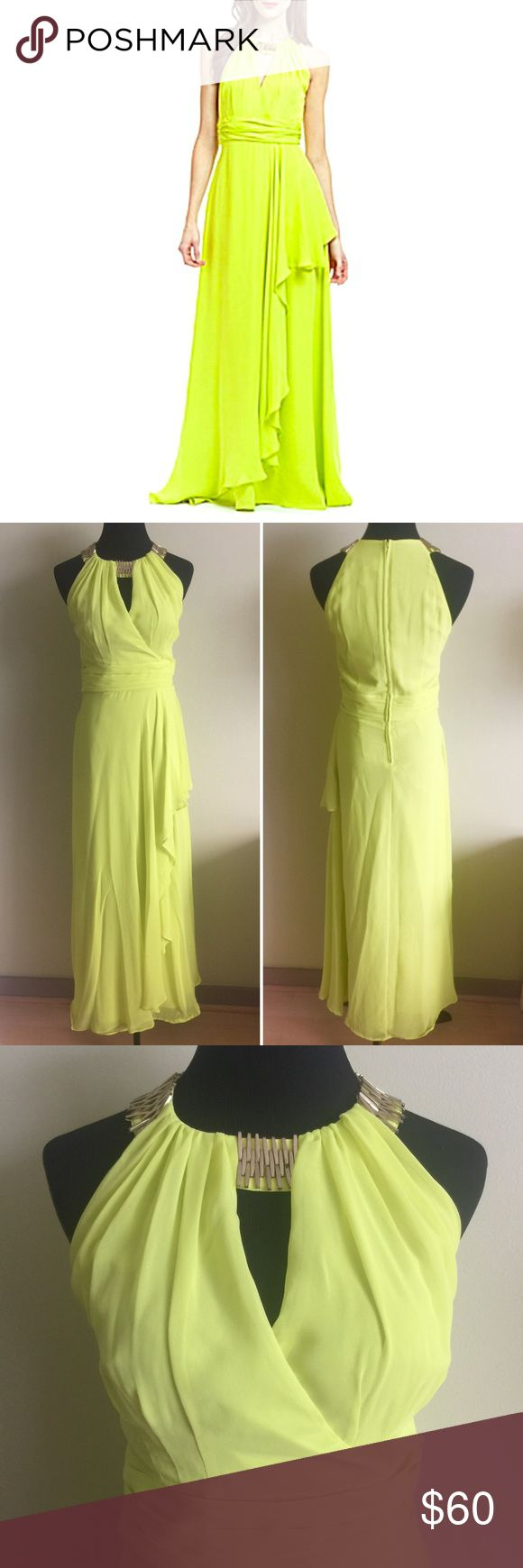 Spotted while shopping on Poshmark: 🐠 BADGLEY MISCHKA chiffon halter gown in lime 4! #poshmark #fashion #shopping #style #Badgley Mischka #Dresses & Skirts