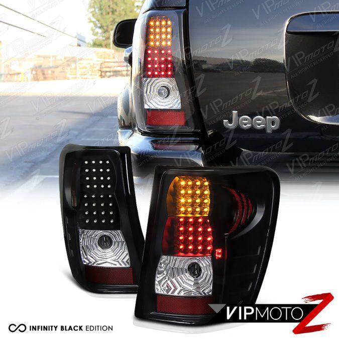 99-04 Jeep Grand Cherokee Black LED Tail Lamps Turn Signal+Brake Lights Assembly #VIPMOTOZ
