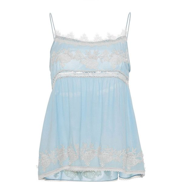 Blugirl Eyelet Lace Spaghetti Strap Top ($182) ❤ liked on Polyvore featuring tops, light blue, embellished tank, eyelet top, blugirl, light blue tank top and embellished top