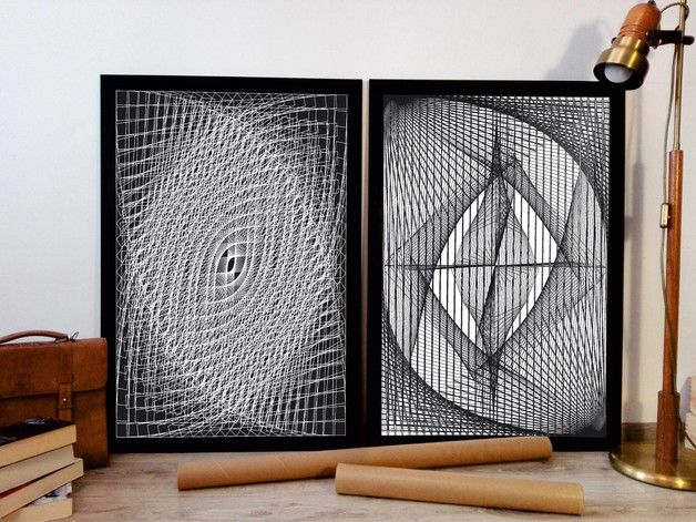50x70 2 szt STRING ART SYMETRIA 2 ABSTRAKCJA - ARTT - Dekoracje