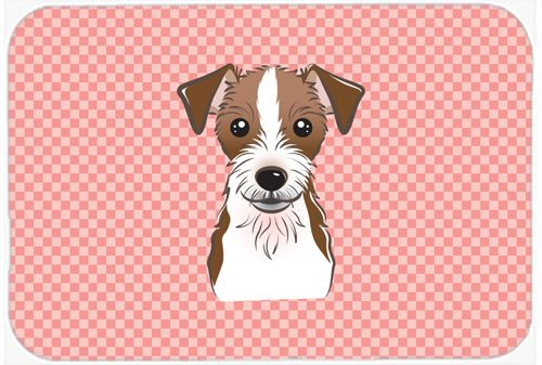 Checkerboard Pink Jack Russell Terrier Mouse Pad - Hot Pad or Trivet BB1202MP #artwork #artworks