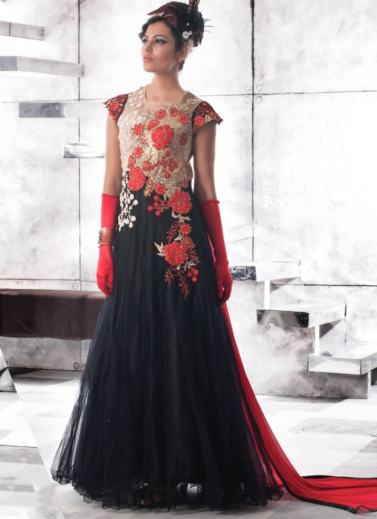 Dress up like bollywood divas. Buy bollywood saree, gown & salwar suit collection online. Free shipping in india. Customize order for this girlish faux georgette and net black designer gown online.