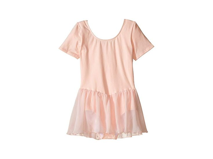 Bloch Kids Short Sleeve Leotard with Chiffon Skirt (Toddler/Little Kids/Big Kids) Girl's Jumpsuit & Rompers One Piece Light Pink