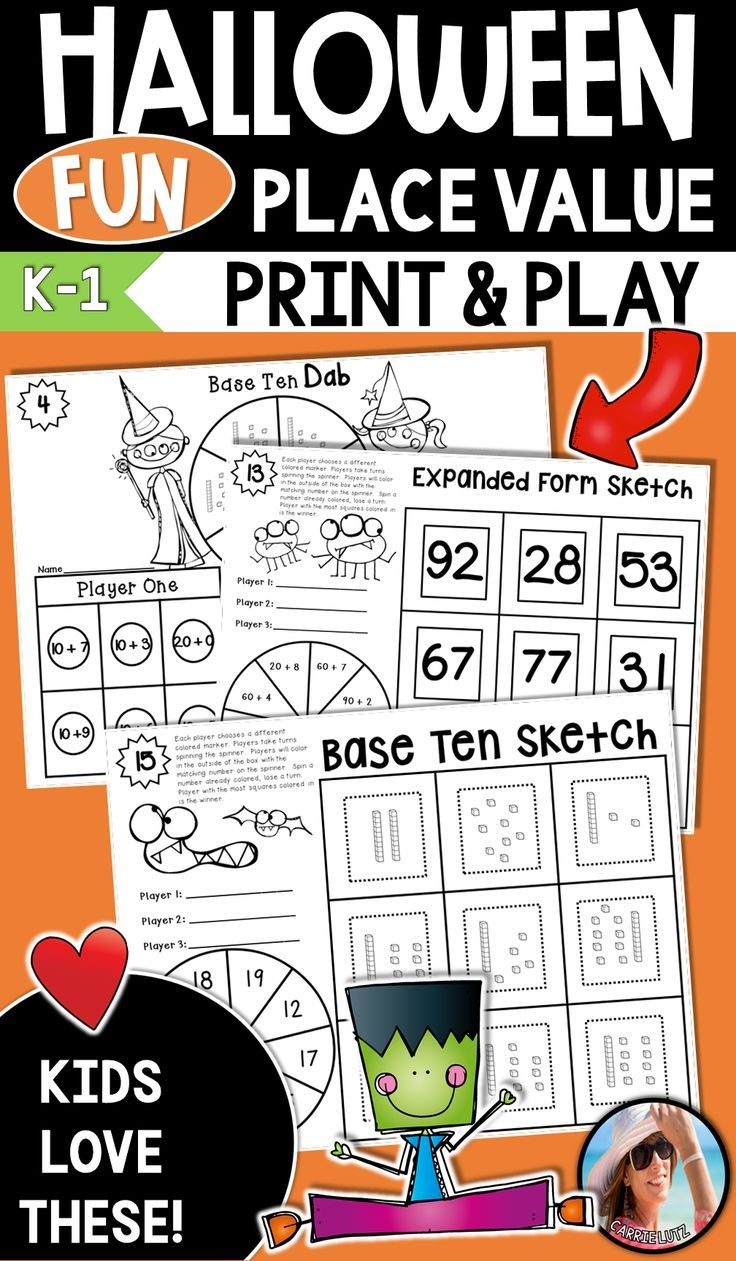 Halloween Is A Great Time For Kids To Play Fun Learning Games These Print And Play Low Prep Games Ar Halloween Math Activities Place Values Place Value Games [ 1261 x 736 Pixel ]
