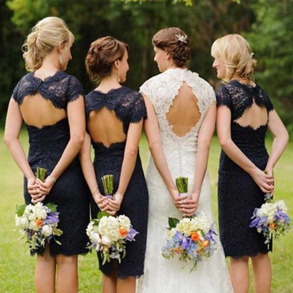 Charming Lace Navy Blue Open Back Knee-Length Short Mini Cheap Bridesmaid Dresses, WG095