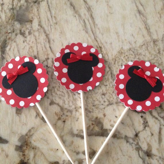 12 Minnie Mouse Cupcake Topper  Red w/ White Polka by CynPaperie