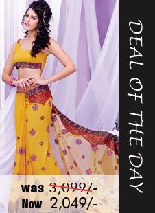 Deal of the day #Yellow Faux georgette #Saree with Embroidered and Lace Work Was Rs. 3,099 Now only Rs. 2,099!  Grab your piece before the deal closes@ http://zohraa.com/yellow-faux-georgette-saree-kasatbree3001.html