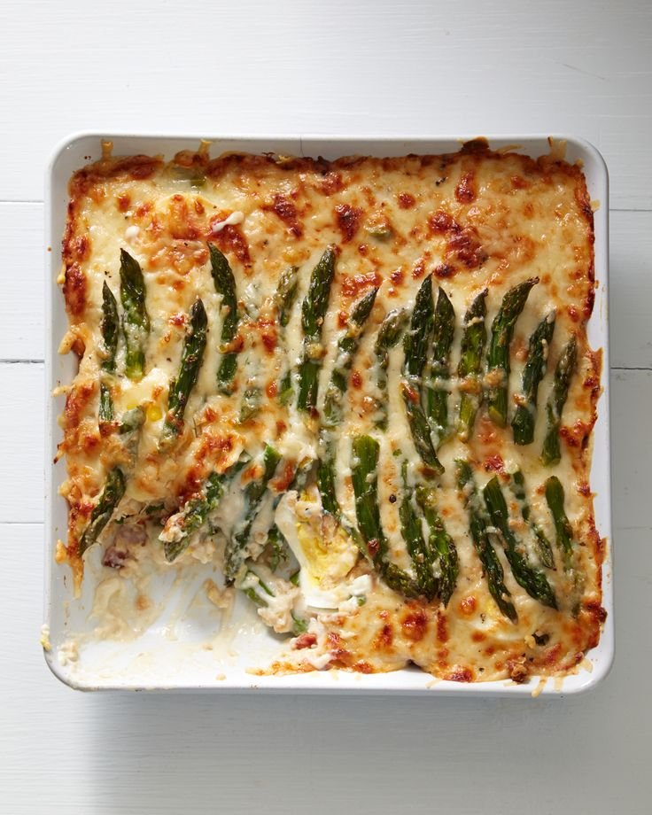 Asparagus Casserole Take this traditional southern side dish to the next level with smoky bacon, creamy bechamel, and sharp gruyere.