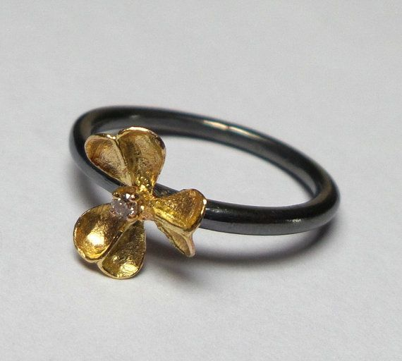 Gold ring - 14K Gold Ring - Silver Ring - Flower Ring - Diamond ring - Collection seed - Free Shipping!!