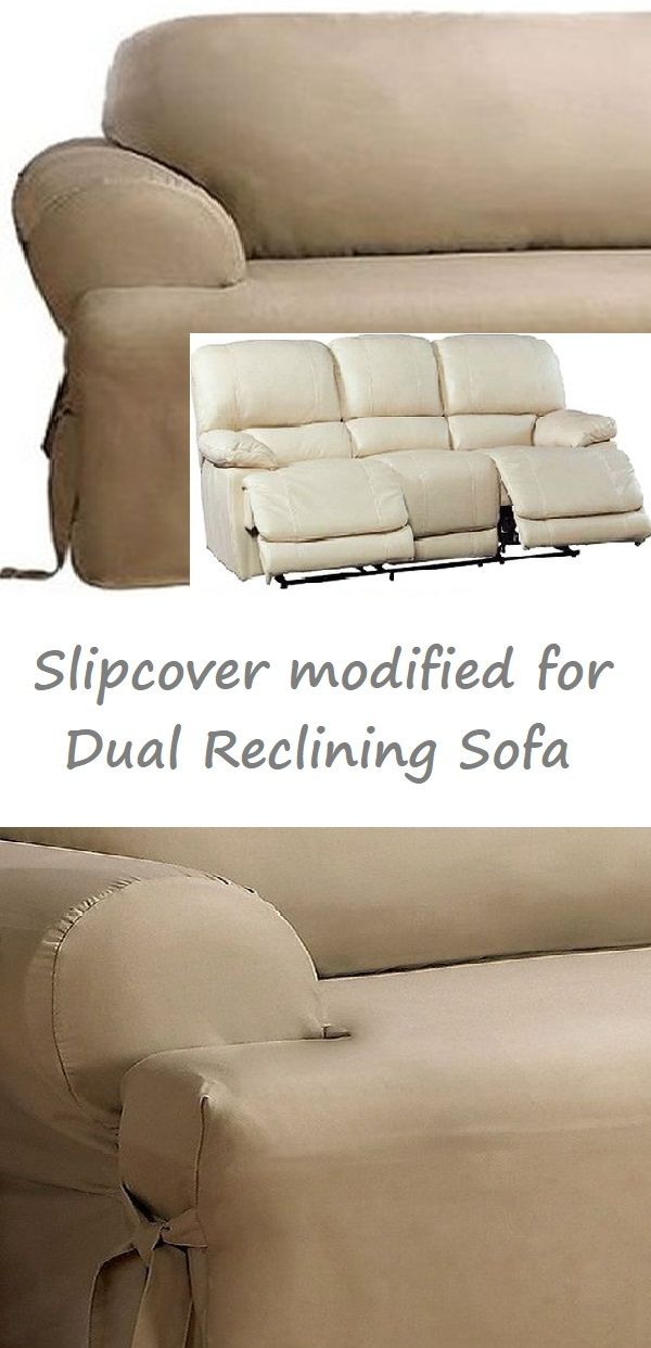 Dual Reclining Sofa Slipcover T Cushion Cotton Taupe Sure Fit