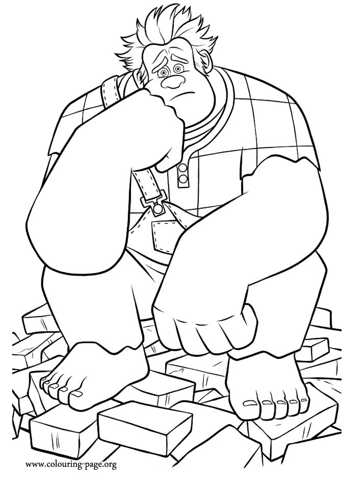 WreckIt Ralph sad coloring page Coloring Pages Pinterest