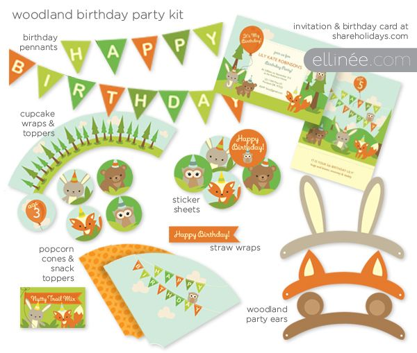 Woodland kit. (pennants, toppers, animal ears, etc. bunny, fox, owl, bear) FREE Birthday Party Printables Galore!