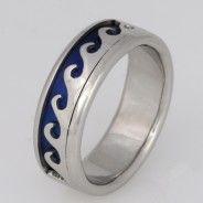 Wedding ring gents palladium wave with blue niobium