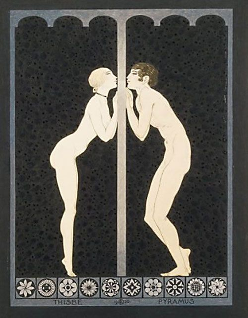 Act V scene i Bottom (as Pyramus):  O kiss me through the hole of this vile wall. Andre Lambert 'Thisbe et Pyramus', 1930