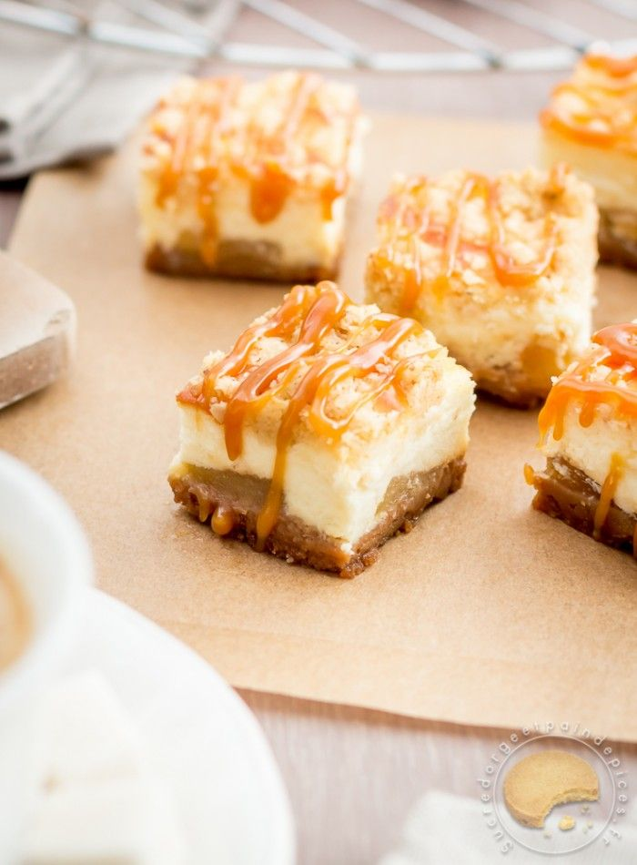Carrés crousti-fondants façon cheese-cake aux pommes et caramel au beurre salé - Sucre d'Orge et Pain d'Epices