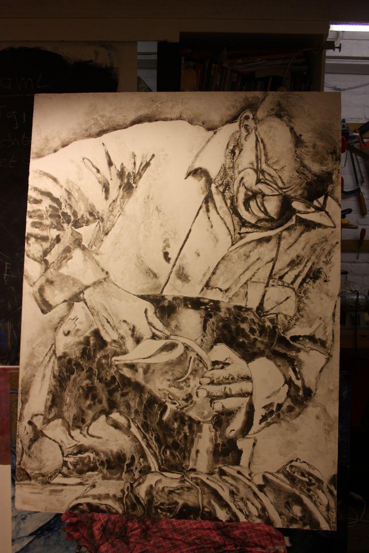 Titel: Mijn opa schoenmaker / Techniek: Tempera grassa