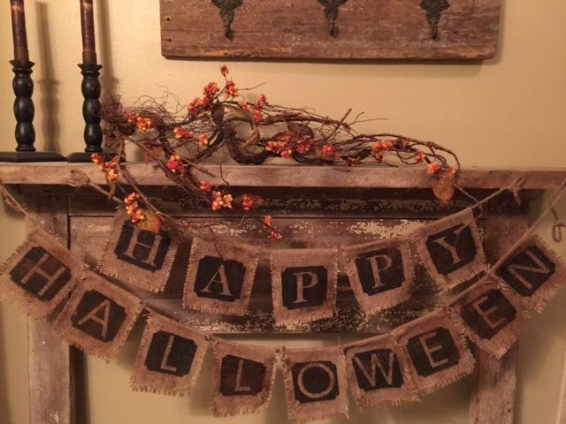 Primitive Grubby HAPPY HALLOWEEN Banner Garland Burlap FALL Cabin Rustic