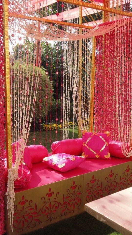 Mehendi Wedding Decor - Pink Theme Decor By Royal Elephants | WedMeGood Perfect For A Mehendi Function! Check Out Their Work on wedmegood.com #wedmegood #mehendi #wmgdecor