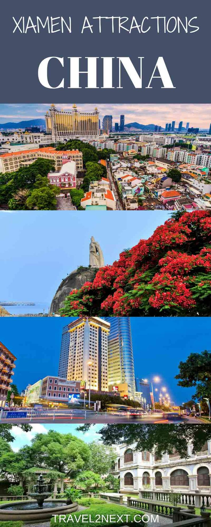 Xiamen Attractions. It may be just one square kilometre in size, but Xiamen's Gulang Island knows how to drum up interest beyond its sleek measurements.