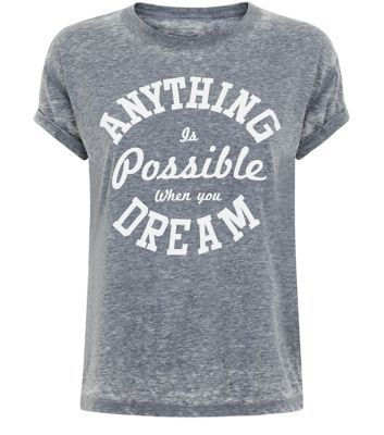 Teens. Pair this slogan t-shirt with black skinny jeans and slip on plimsolls, for a laid back daytime style.- 'Anything Is Possible' printed front- Rolled sleeves- Rounded neckline- Casual fit- Soft cotton fabric