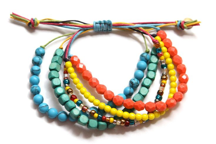Colorful Waxed Cord Beaded Beachy Boho Bracelet by JomartinDesigns $18.00