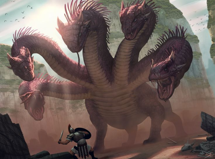 Hydra - Greek Mythology; Although the Hydra is mostly depicted as a serpentine water monster, sometimes it is shown as a land creature. It was said to be an offspring of Typhon and Echidna and that it watches one entrance to the Hades: Lake Lerna.