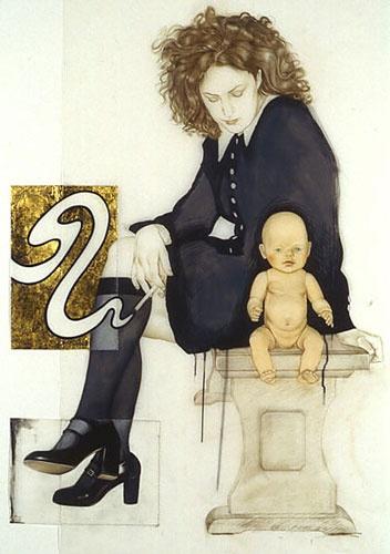 """Me & My Doll (after Frida Kahlo)"", 2004 by Jennifer Linton. Coloured pencil, drawing ink, thread, composition leaf on Mylar."