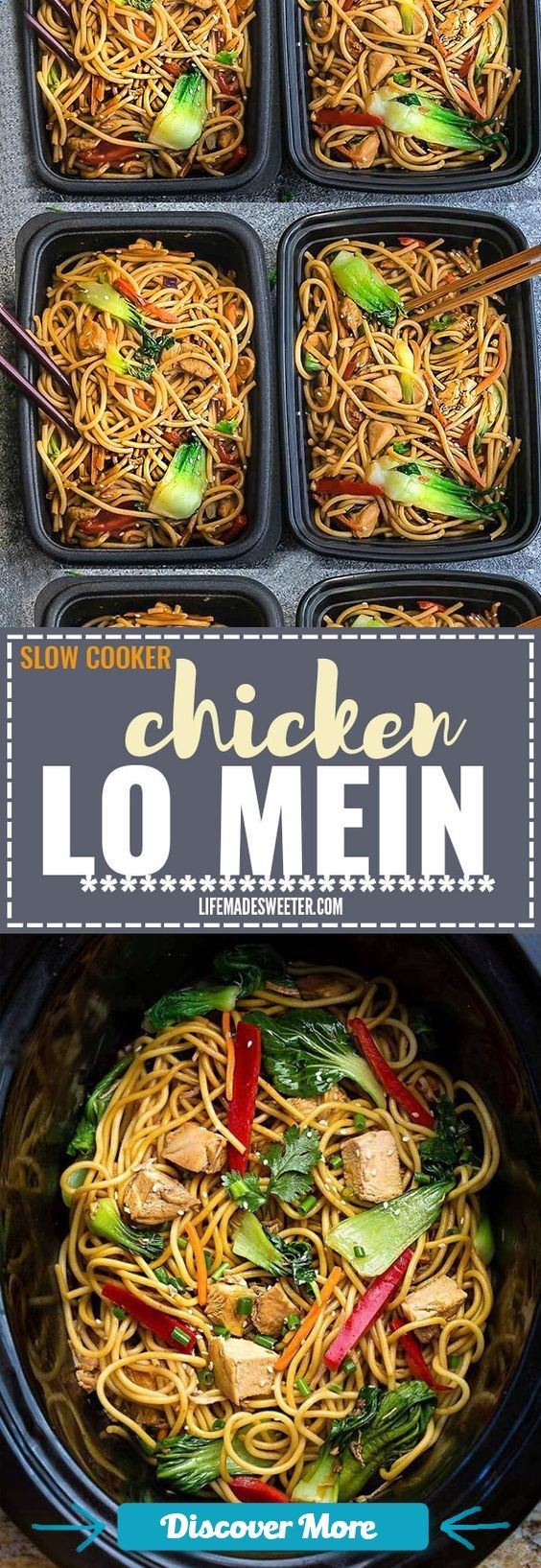 Crock pot Slow Cooker Chicken Lo Mein makes the perfect easy Asian-inspired weeknight meal and perfect for your weekly meal prep as lunch bowls for work or school. Best of all, takes only 15 minutes to put together with the most authentic flavors! So delicious and way better than any Chinese takeout! Leftovers make delicious school or work lunches or dinner the next day! #slowcooker #slowcook #slowcookerrecipes #slowcookerchicken