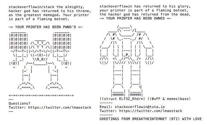 Laut einem Bericht von Motherboard hat ein Teenager aus Großbritannien am vergangenen Samstag offenbar 150.000 Drucker gehackt und dort ASCII-Kunst ausgedruckt. Auf Twitter meldeten zahlreiche Nutzer, dass ihr Drucker gehackt worden sei. In einem Interview mit Motherboard erklärte der laut Selbstdar