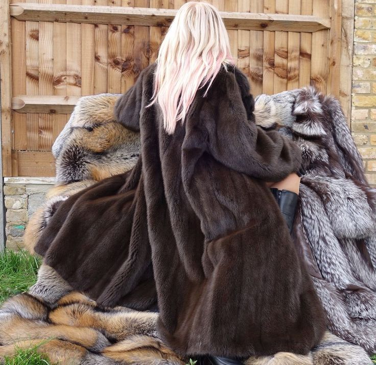 ❤️ SAGA MINK BROWN DEMI BUFF DESIGNER Fur Coat Sable colour Size XL-XXL NEW!