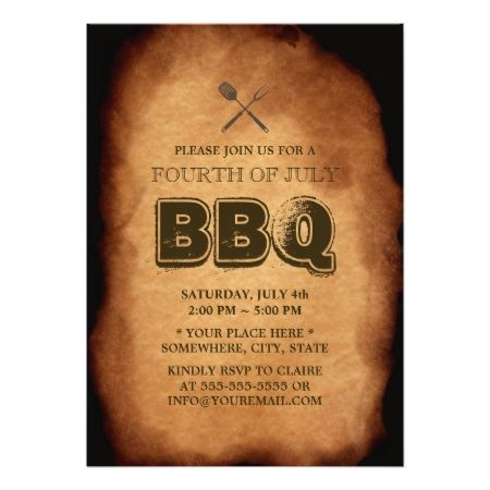 "Vintage Old Annual July 4th BBQ Party Invitations 5"" X 7"" Invitation Card Vintage Old Annual July 4th BBQ Party Invitations. #bbq #barbecue #cookout #july #4 #july #4th #4th #of #july #grill #backyard #bbq #vintage #old #annual #family #bbq #holiday #roast #bbq #party #barbeque #party #america #independence #day #retro #antique #summer #party..."