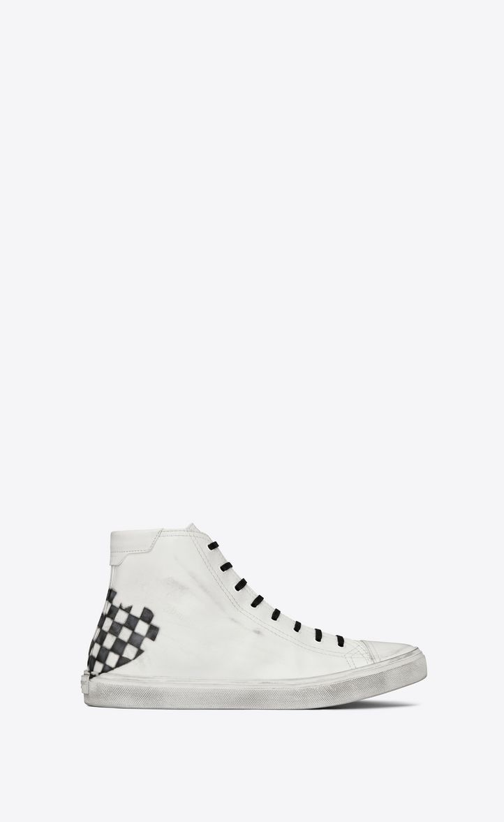 888ce32474 SAINT LAURENT BEDFORD MID-TOP SNEAKER WITH CHECKERED HEART IN WHITE ...