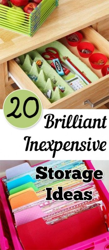 20 Brilliant Inexpensive Storage Ideas.organization, organizing hacks, stay organized, home, home decor, cleaning, cleaning tips, diy organization