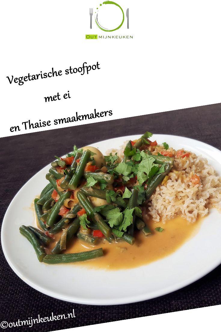 Vegetarische stoofpot met allerlei heerlijke Thaise smaken en met ei in plaats van vlees.