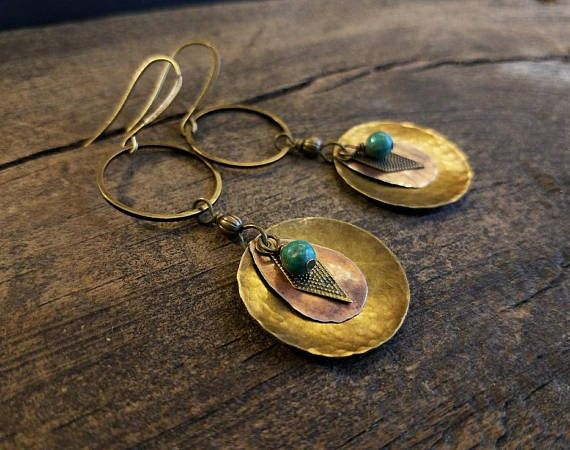 Boho Earrings Mixed Metal Earrings Bronze Earrings