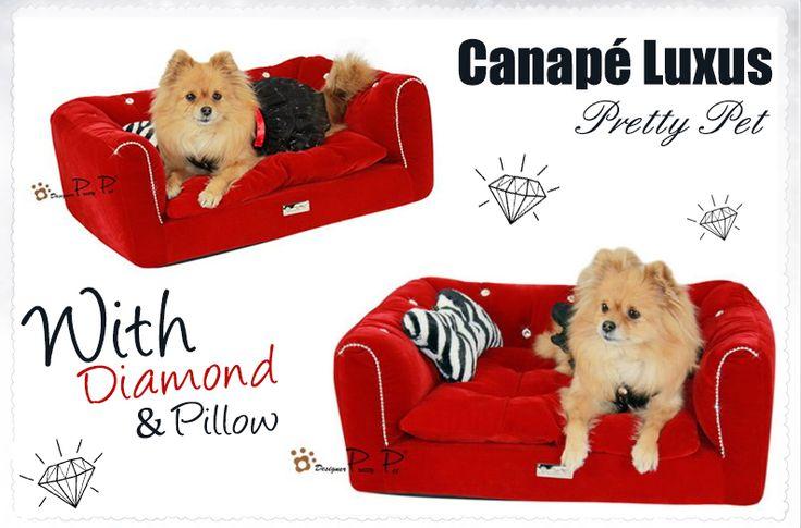 Canapé Luxus Rouge Pretty Pet - sweetie dog- pomeranien - luxe chien - accessoire chien - dog bedwww.sweetiedog.com