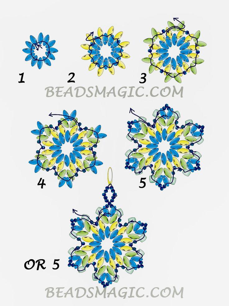 Superduo earrings, free schema ~ Seed Bead Tutorials