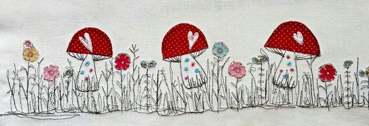 Fairy toadstools by Picpacnaddywak. Freemotion sewing technique with applique design .