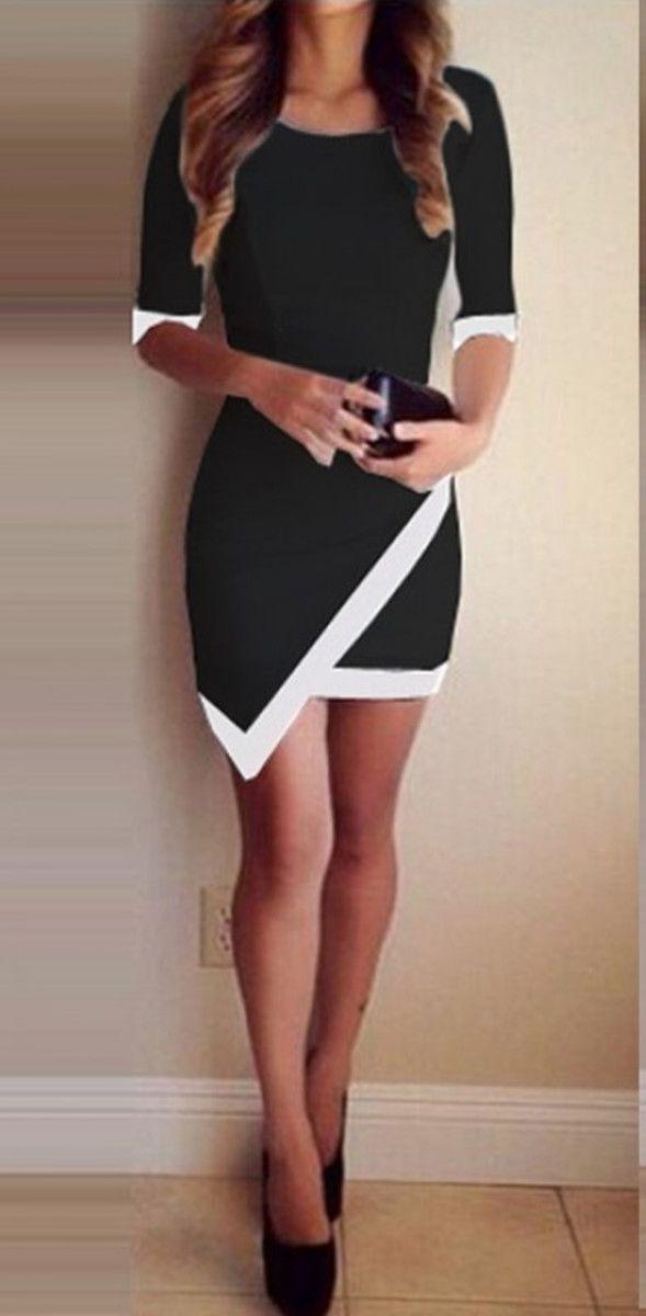 Stylish Scoop Neck 3/4 Sleeve Hit Color Asymmetric Dress For Women