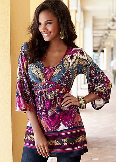 Empire waist tops like this with a pair of slim pants, is a great look for your body type.