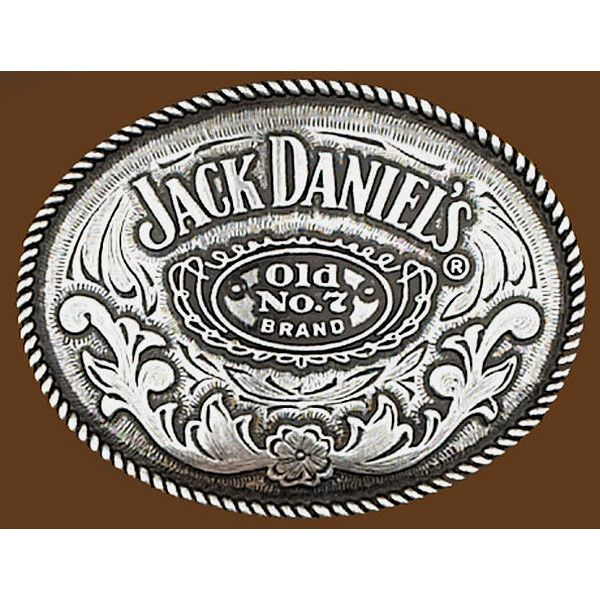 "Western Express vintage tone pewter Jack Daniels licensed Old No 7 Brand artwork. Made for belts 2.5 - 3"" wide. Dimensions: 3.25"" H x 4"" W x .5"" D"