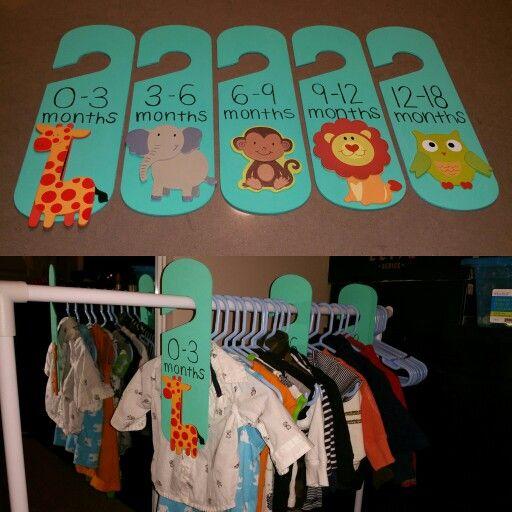 DIY baby clothes dividers. Bought the clothes dividers from Dollarama (they were actually black chalkboard door hangers $1.25 each).  Painted them. Titled them. Glue gunned the store bought wood animals from Michaels Arts & Crafts $0.89 each. Et Voila!