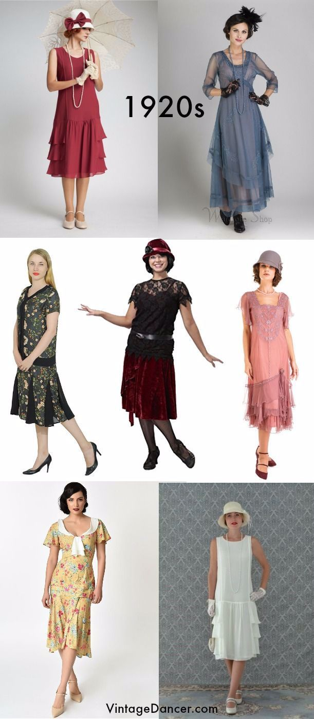 Non-flapper 11s tea dresses, day dresses, many with sleeves