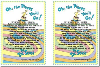 Note to go along with Oh the Places You'll Go when you give it to the teacher to explain your graduation tradition each year. Great idea!!