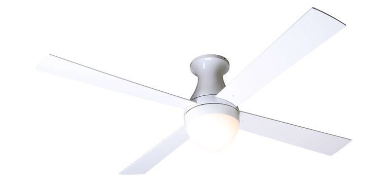 Modern Fan Ball Flush Gloss White, 42 blade option