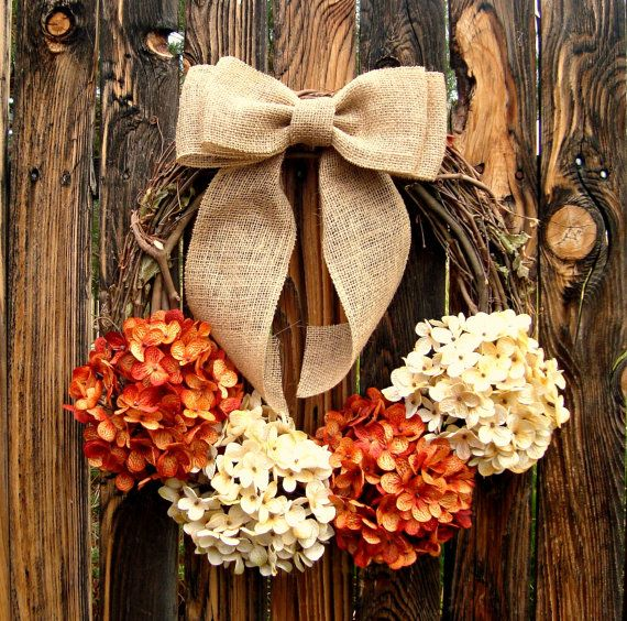 Pumpkin and Cream Hydrangea Wreath - Fall Hydrangea Wreath - Grapevine Wreath…