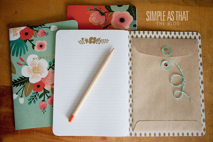 Your planner might be filled with tidy to-do lists, but somehow receipts, mail, and other scraps always end up at the bottom your purse. Glue an envelope inside the cover of your go-to notebook to create a place you can hide loose papers that you need to keep. See more at Simple As That »