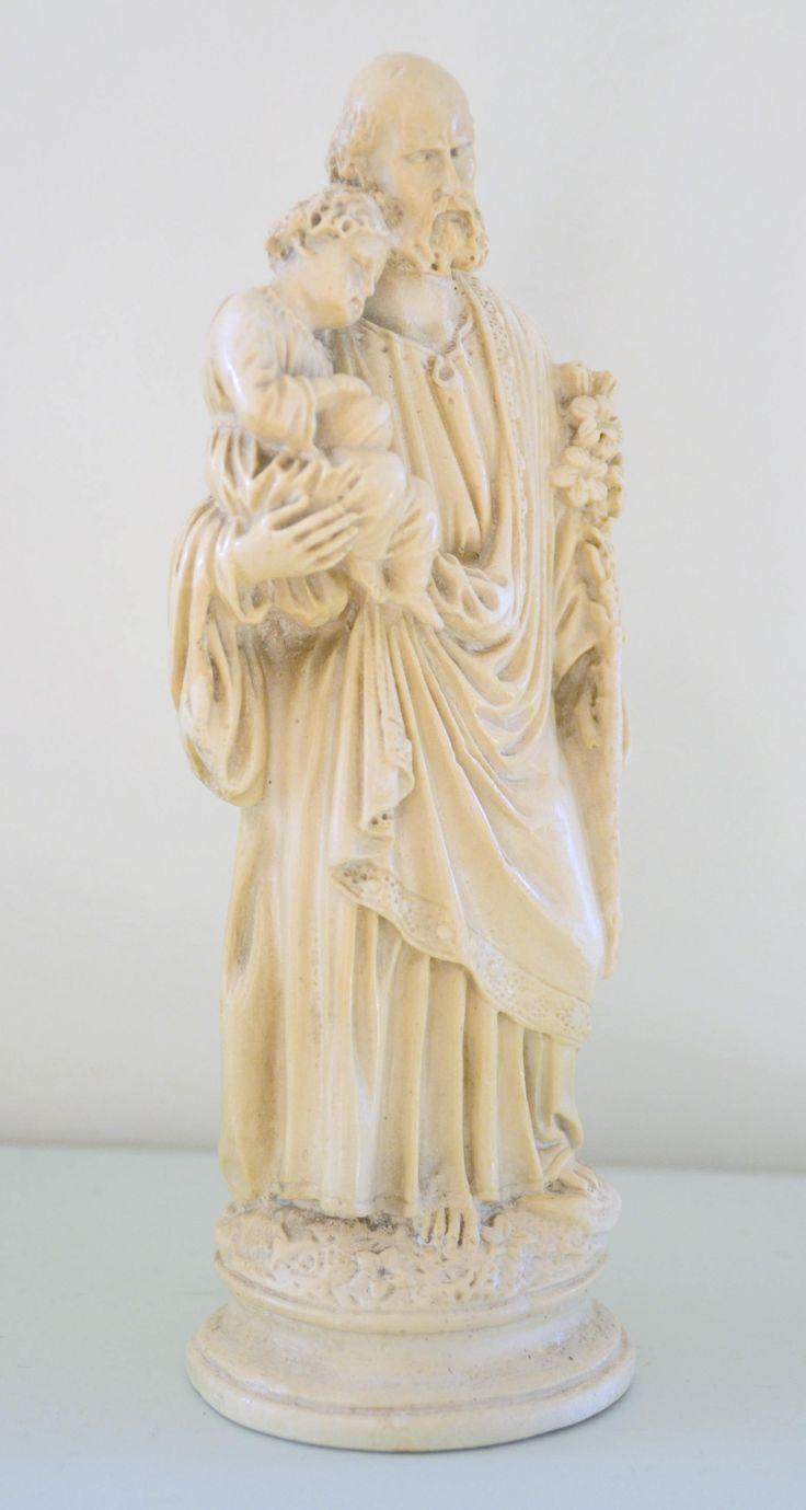 Statue religieuse vintage , en ivoirine, St Joseph , french vintage de la boutique atelierdelachoisille sur Etsy